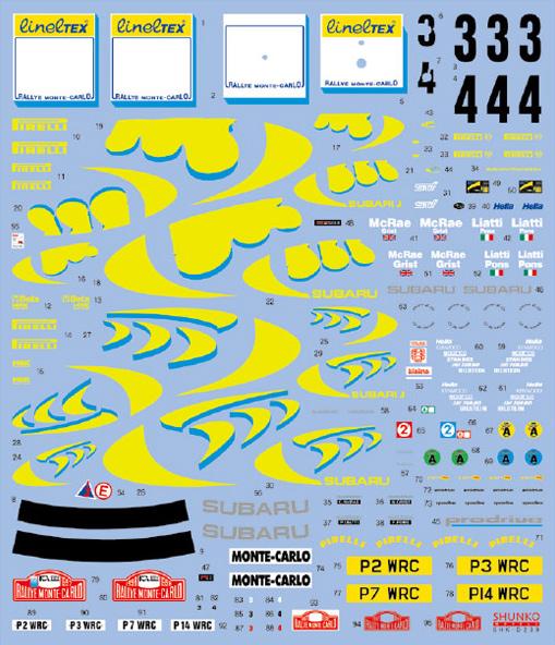 SHUNKO MODELS シュンコモデル SHK-D239 1/24 スリーファイブインプレッサ 1997-98モンテカルロ デカールセット