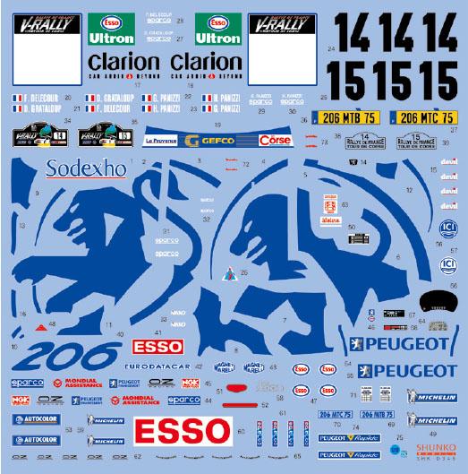 シュンコモデル SHK-D346 1/24 ワークスチーム206 1999コルス デカールセット