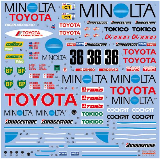 シュンコモデル SHK-D351 1/24 ミノルタ87C 1987 LM/テストカー デカールセット
