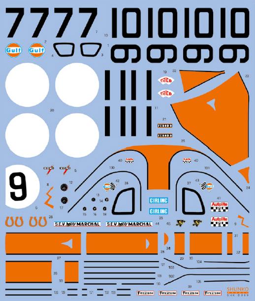 SHUNKO MODELS シュンコモデル SHK-D369 1/24 ガルフGT40 1968-69LM デカールセット