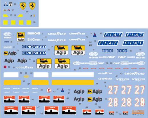 SHUNKO MODELS シュンコモデル SHK-D372 1/24 フェラーリ ティーポ 640 & 642 デカールセット ハセガワ対応