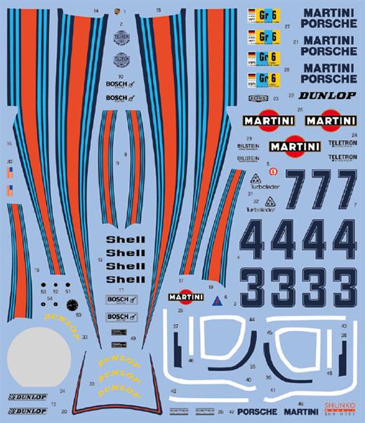 SHUNKO MODELS シュンコモデル SHK-D382 1/24 マルティニ ポルシェ 936/77 1977-78 LM デカールセット タミヤ対応