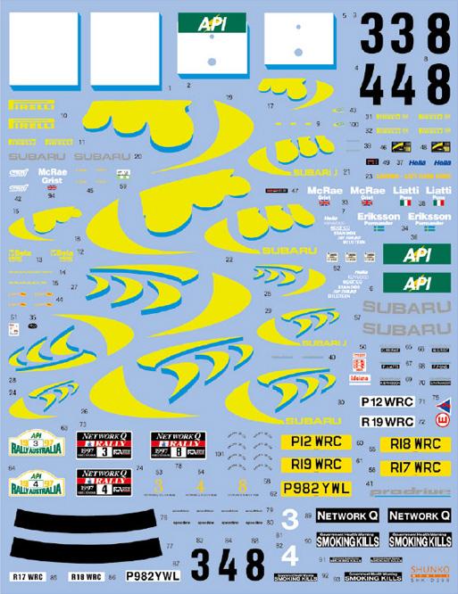 SHUNKO MODELS シュンコモデル SHK-D399 1/24 スリーファイブ インプレッサ WRC 1997 オーストラリア/RAC デカールセット タミヤ対応
