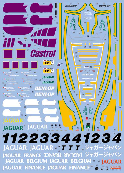 SHUNKO MODELS シュンコモデル SHK-D401 1/24 ワークスチーム ジャガー XJR-9 LM 1989 デカールセット タミヤ対応