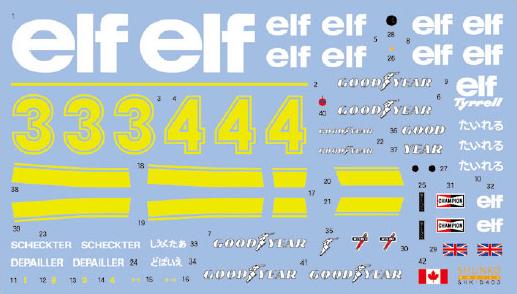 SHUNKO MODELS シュンコモデル SHK-D403 1/20 タイレル P34 1976 スウェーデン/日本 デカールセット タミヤ対応