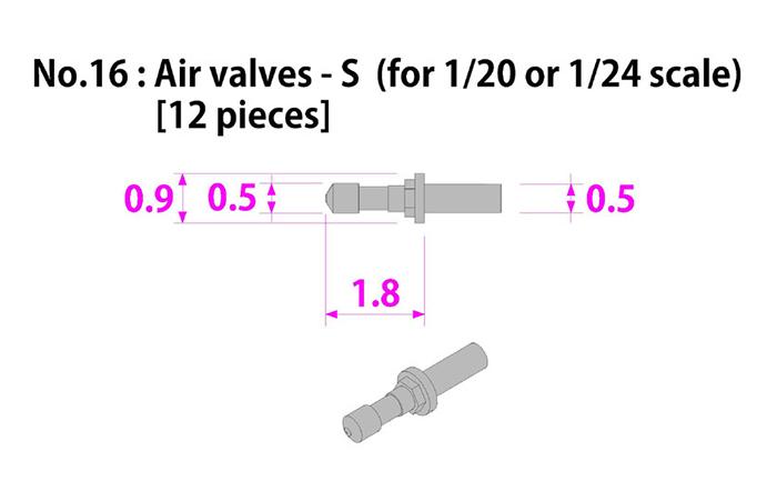 モデルファクトリーヒロ MFH P-1032 1/20 & 1/24 エアバルブ S 12本入