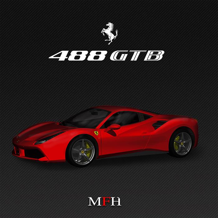 モデルファクトリーヒロ mfh 1 12 フェラーリ 488 gtb ver a クアトロ